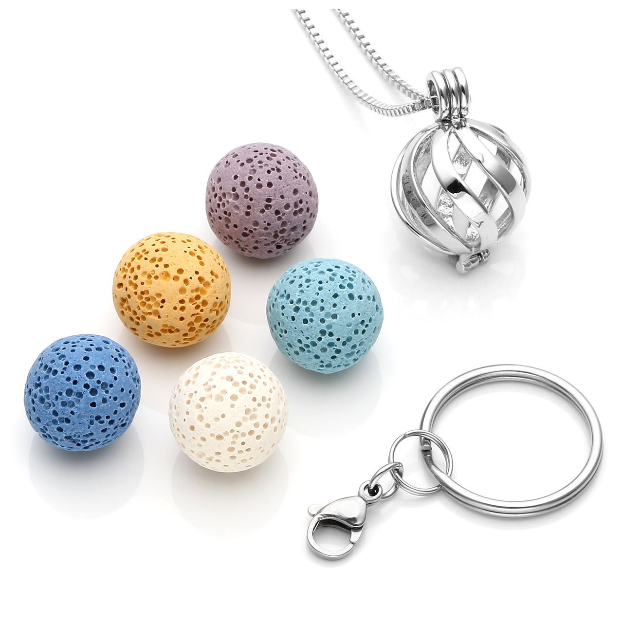 Top Plaza Aromatherapy Essential Oil Diffuser Lava Rock Stone Locket Pendant Necklace Keychian Fashion Unique Silver Stainless Steel Jewelry for Womens Men(Twisted Ball)
