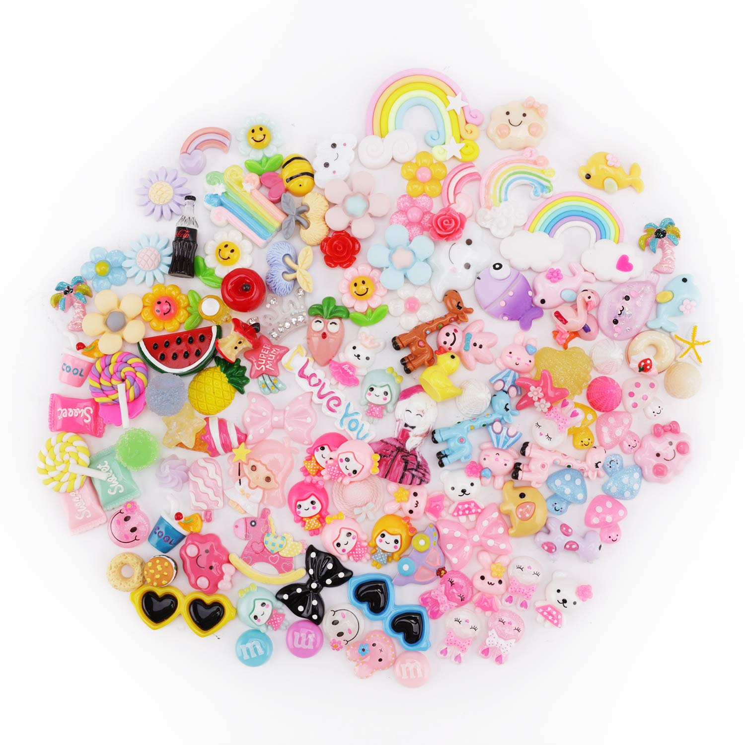 100 COLOURFUL STAR BUTTONS SEWING CHARM CABOCHON FLATBACK CRAFT HOBBY SCRAPBOOK
