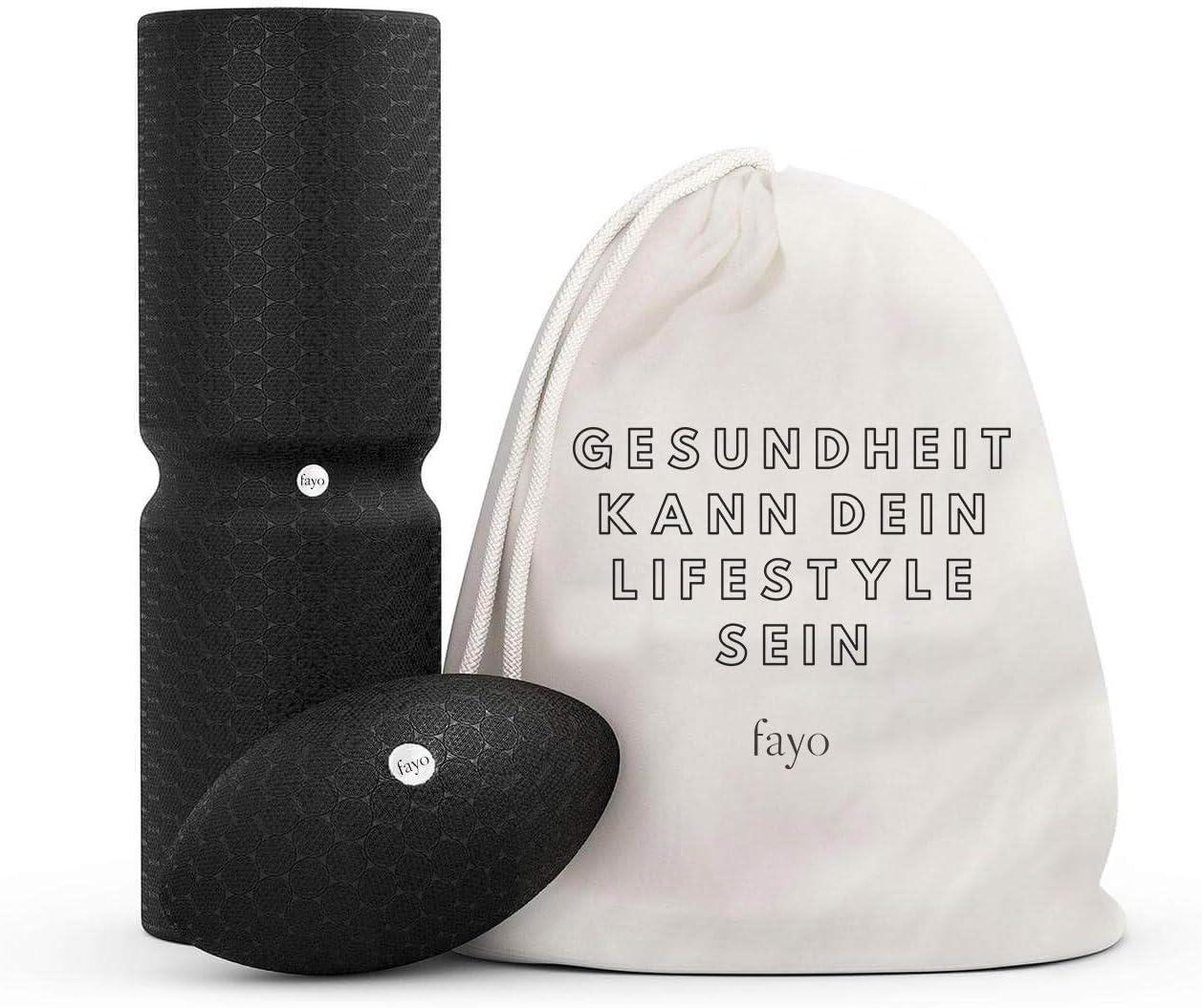 Liebscher & Bracht FAYO Faszienrolle mit Umlaufrille - Faszienball - Faszienset für Yoga, Training & Selbstmassage