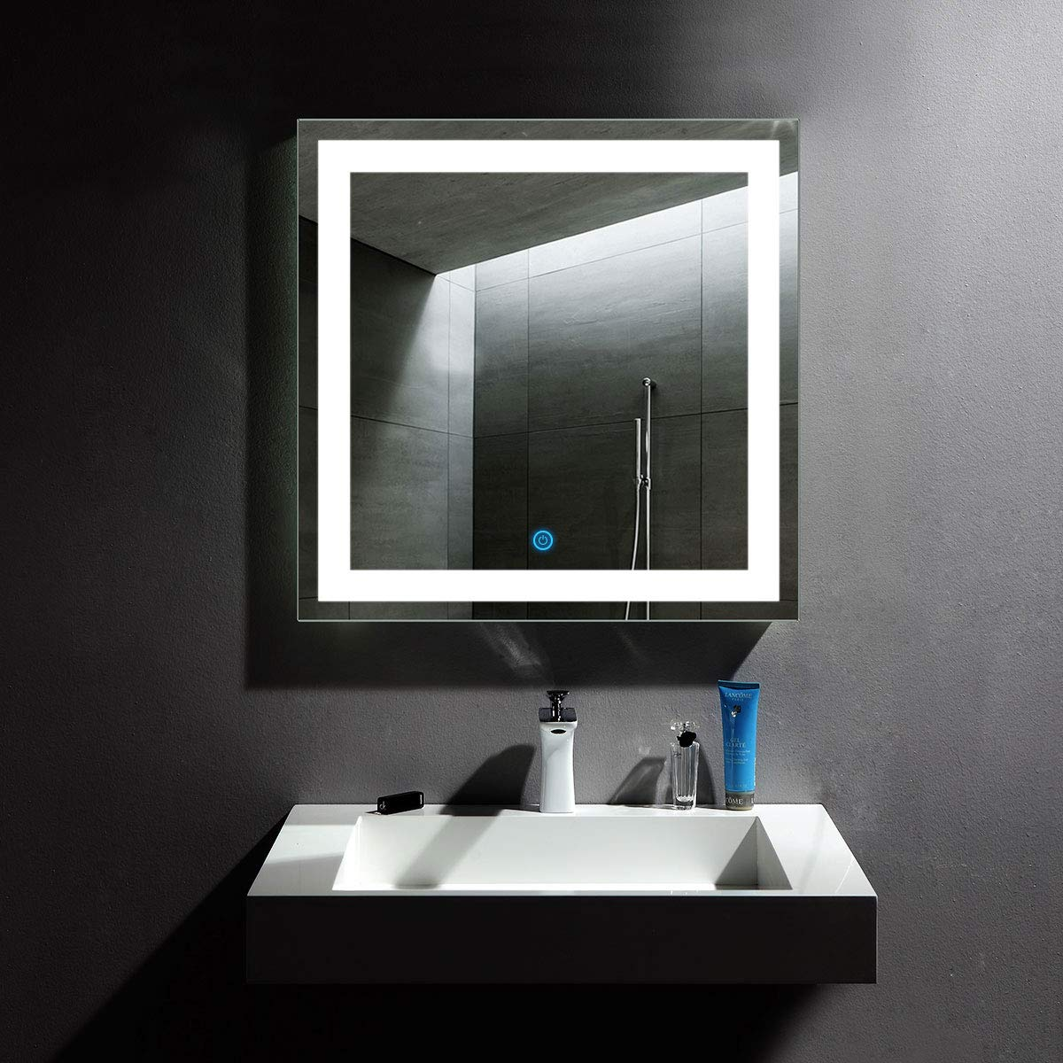 DP Home Modern Square LED Backlit Mirror, Wall Mounted Lighted Makeup, Bathroom Illuminated Vanity Mirrors for Wall, 32 x 32 in E-CK010-F