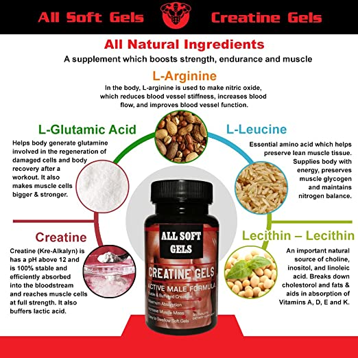 Amazon.com : CREATINE GELS, LIQUID CREATINE GELS, ALL SOFT GELS, 30 Liquid gels, Extreme Liquid Gel Booster, Increases Libido, Boosts Stamina, ...