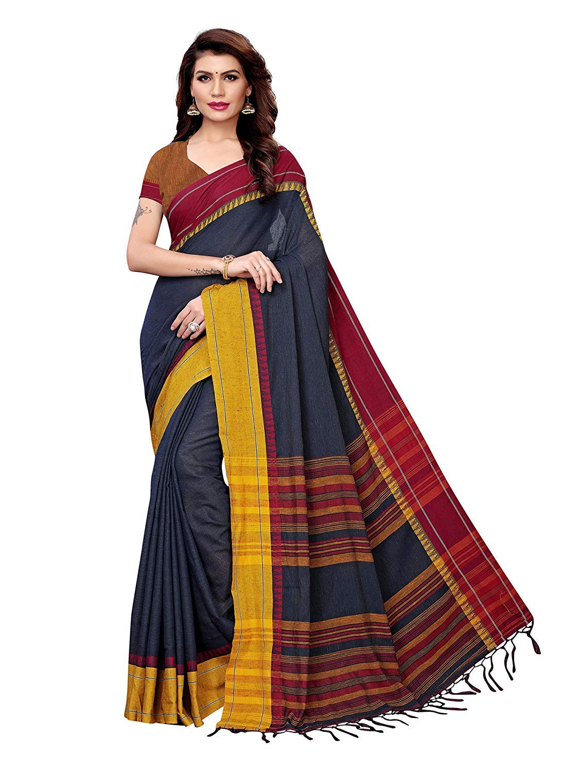 Indian Handloom Saree Designer Bollywood Linen Party Wear Sari with Unstitched Blousepiece (Navy Blue)