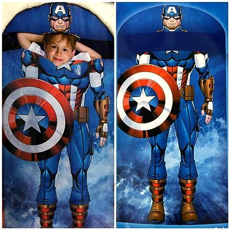Marvel Vengadores Capitán América con capucha Saco de dormir dormir saco piso cama