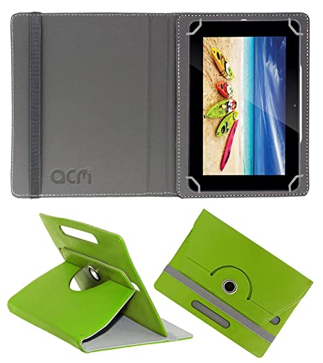 Acm Rotating 360 deg; Leather Flip Case for Iball 3g 9017 D50 Cover Stand Green Bags   Cases