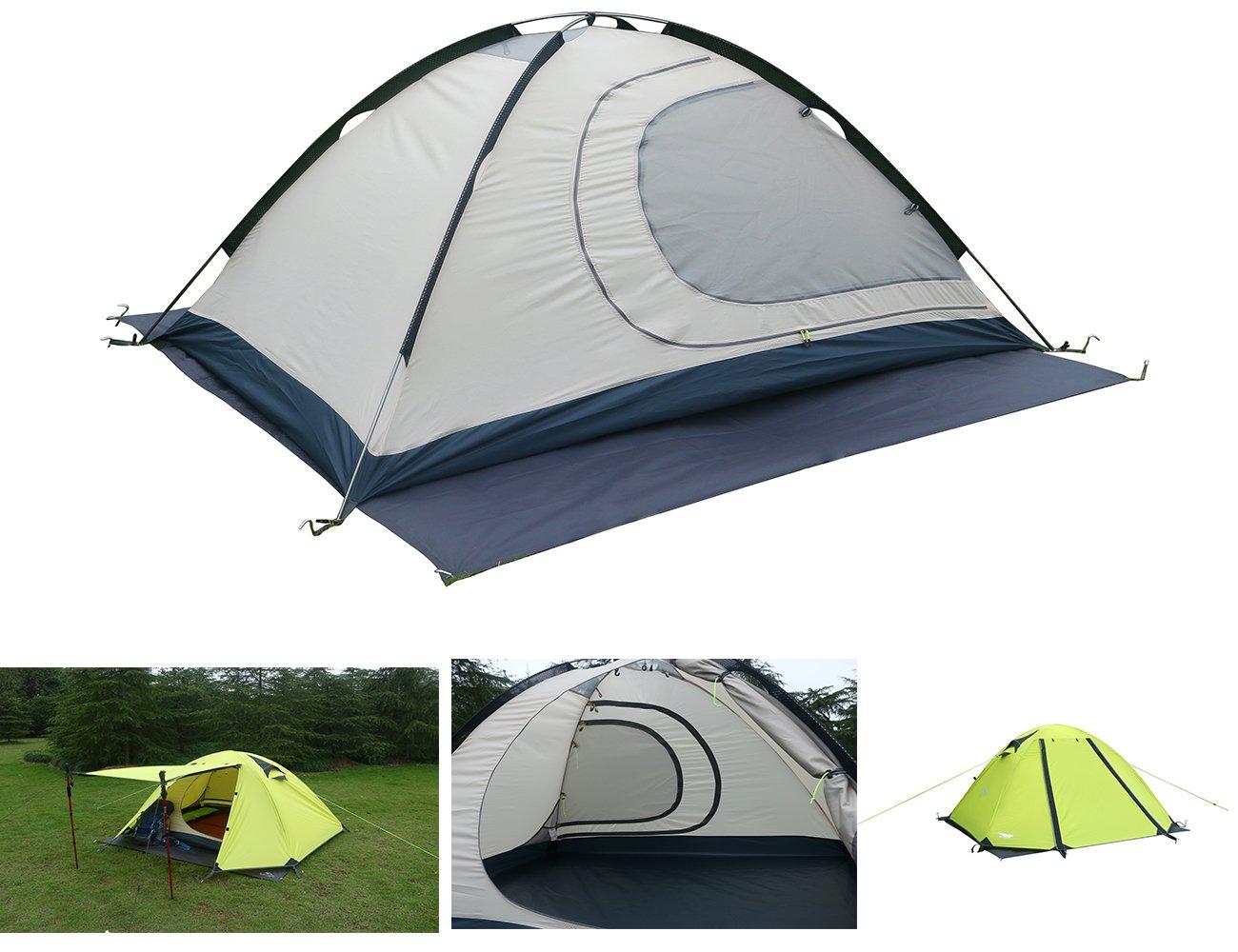 Luxe Tempo Hochwertiges Wasserdicht Zelt 2 Personen Trekkingzelt Campingzelt Innovativ Innenzelt (210cm+140cm+110cm)