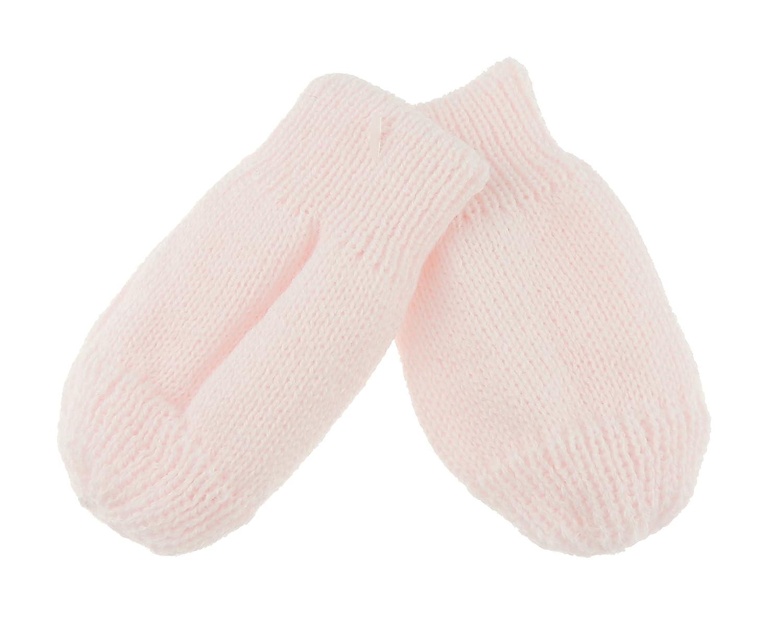 Baby Girls Boys Block Colour Warm Winter Fine Knit Mittens (White) Glamour Girlz