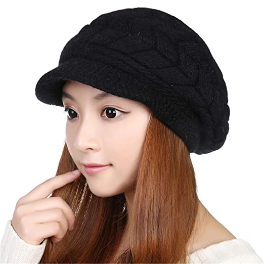 e9605d302f5c5 Women Winter Warm Knit Hat Wool Snow Ski Caps With Visor at Amazon ...