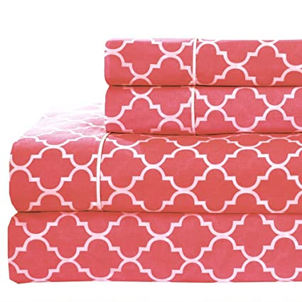 Meridian Coral And White Brushed Percale Cotton Sheets, 5pc Adjustable  King, Split King