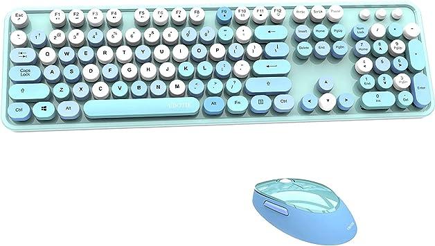 Colorido ordenador teclado inalámbrico ratón combos, máquina de escribir teclas flexibles oficina teclado de tamaño completo, conexión sin abandonar ...