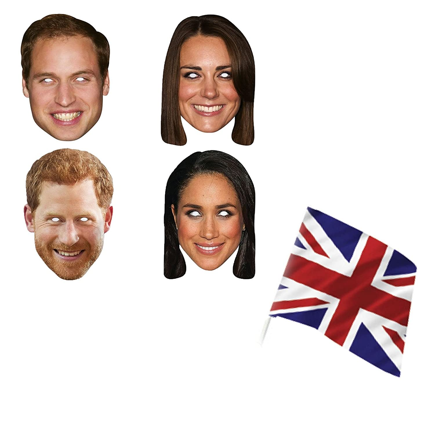 GB Great British Royal Wedding Prince William Harry Meghan Markle Kate 4 Masks