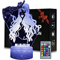 Billie Eilish Night Light, 3D Optical Illusion LED Nightlight Bedside Lamp Smart Touch 7 Colors + 16 Colors Remote Dimmable USB Charger Home Decoration for Kids Gift