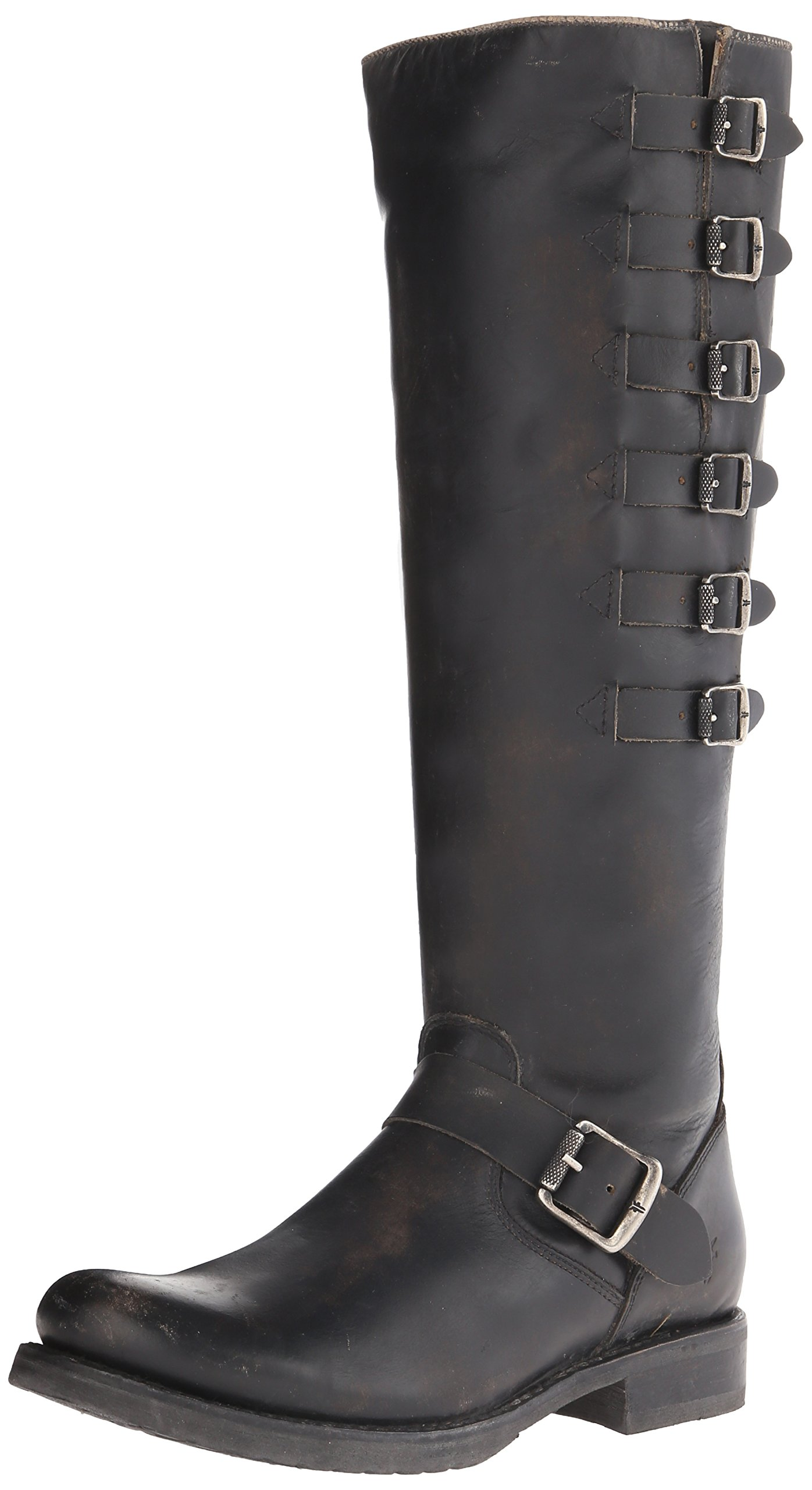 FRYE Women's Veronica Belted Tall-STO Engineer Boot,  Black, 5.5 M US