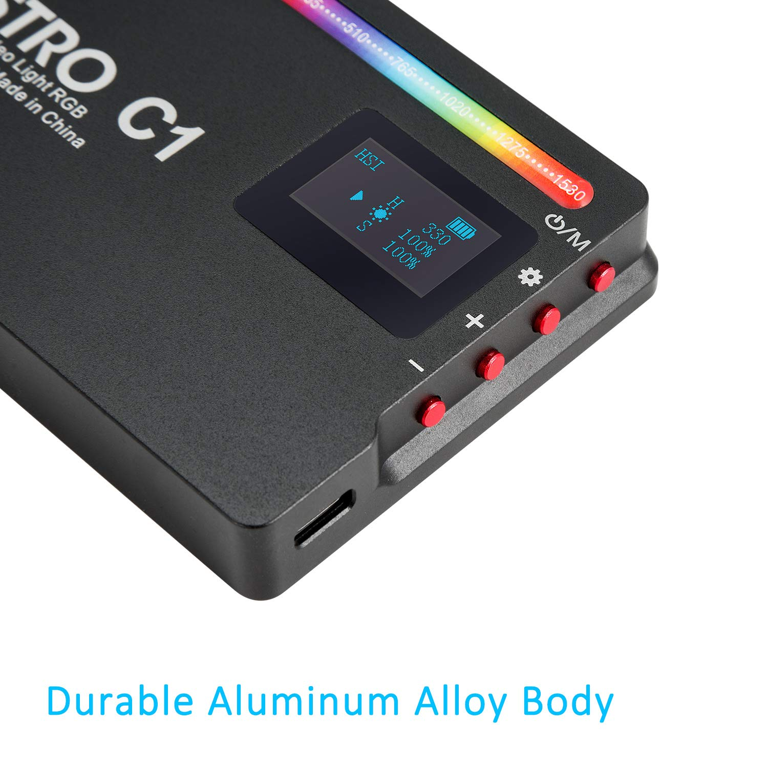 Full Color RGB Light for Camera Camcorder 10 Scene Simulations with Premium Aluminum Alloy Shell INSSTRO C1 RGB LED Video Light Rechargeable Pocket Size Video Light with 2500k-8500k Color Range
