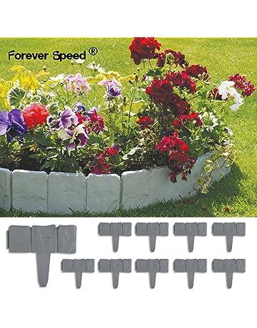 Forever Speed Flexible Césped Planta Frontera Gris Terracota Efecto Piedra de Plástico Jardín 2,5M