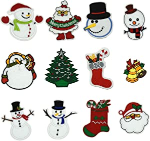 Ewinsun 12 Pcs Christmas Day, Snow Man Assorted Size Iron On Patches Sew On Decoration Patch for DIY Jeans, Clothing, Handbag, Hats