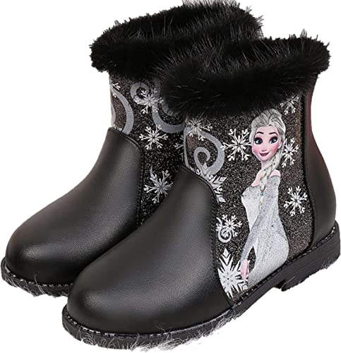 YOGLY Fille Bottes Princesse Talon Bloc Paillette Enfant Chaussures Epais Chaud Automne Hiver Halloween Mariage Noël Cadeau Carnaval
