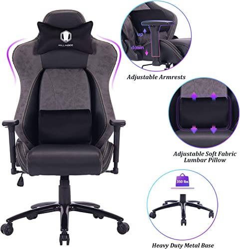 VON RACER Big and Tall Gaming Chair Racing Office Chair – Adjustable Back Angle, Soft Fabric Lumbar Support and Arms Ergonomic High-Back Leather Computer Desk Swivel Chair w Metal Base, Black