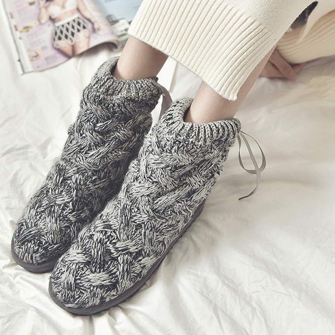 Qiusa Botas de Nieve de Tubo Alto de Lana de Arco para Mujer Botas Calientes Zapatos Botas de Nieve de Invierno Zapatos (Color : Gris, tamaño : UK-3): ...