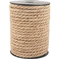 Jute touw, sterk henneptouw met spoel voor knutseltouw/kattenkrabtouw/tuinbundel 6MM 18M