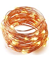 BZONE Battery Operated LED String Starry Light Copper Wire Lights Christmas Decorative Lights(20 Leds, Warm White, 7ft)