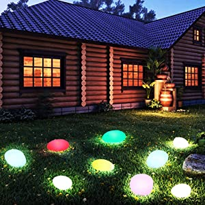 Solar Lights Outdoor, Glow Cobblestone Shaped Solar Garden Light Waterproof Color Changing Landscape Lights with Remote Control