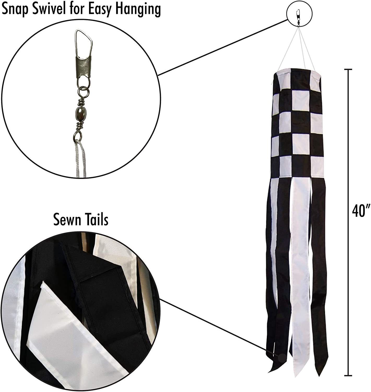In the Breeze Checkered Flag Windsock 40-Inch