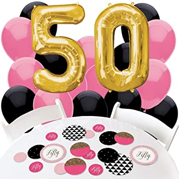 Amazoncom Chic 50th Birthday Pink Black and Gold Confetti and