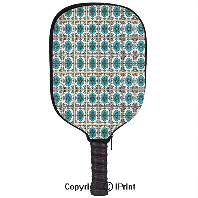 Amazon.com : Smooth And Comfortable Zipper 3D Pickleball Paddle Racket Cover Case, Circles and Squares with Vibrant Color Palette Checkered Grid Design West ...