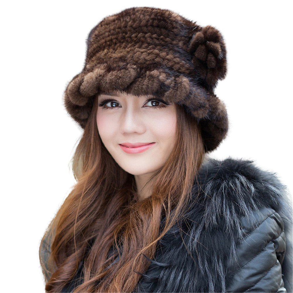 SPRINGWIND Real Mink Fur Hat Knitted Womens Winter Cap
