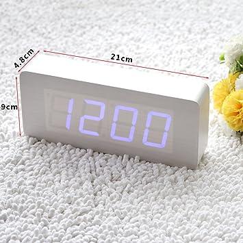 EiioX Uhr, Wecker, Alarm Digital LED Holz, mit USB-Anschluss oder ...