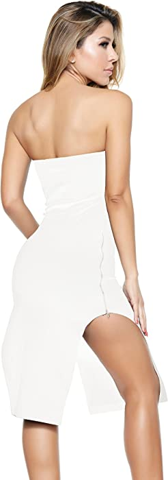 Forplay Women's Double Zip Strapless Midi Dress with