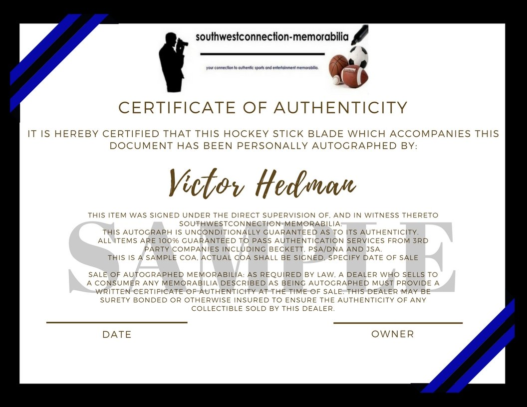 Tampa Bay Lightning Victor Hedman Autographed Hand Signed Logo Ice Hockey Stick Blade with Proof Photo of Signing and COA