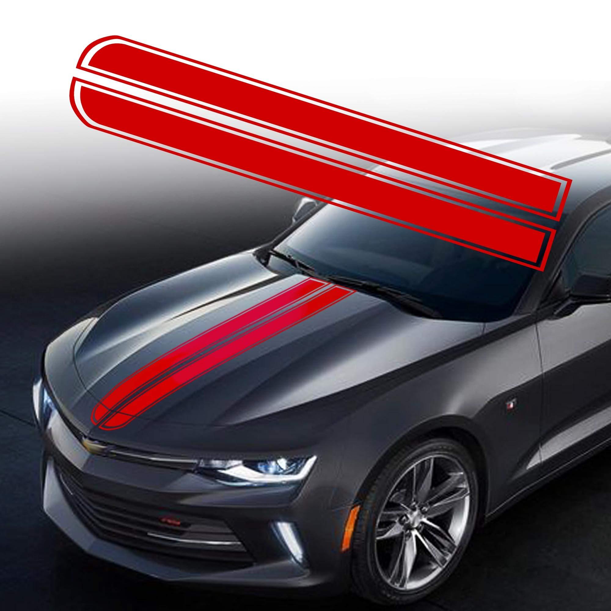TOMALL 50.8x 9.5 Car Hood Stripe Sticker Auto Racing Body Side Stripe Decal Skirt Roof Hood Bumper Stripe Decal Vinyl Modified Stripe Decal Decoration for Car Red