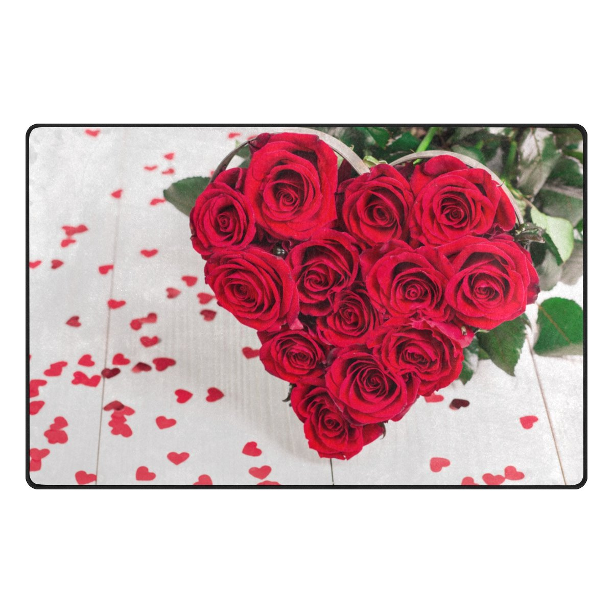 Vantaso Door Mats Non Slip Area Rugs Happy Valentine's Day Roses Red Heart Shape On Wood Play Mats Carpets for Kids Playing Room Living Room Soft Foam Kitchen Rugs 60 x 39 inch