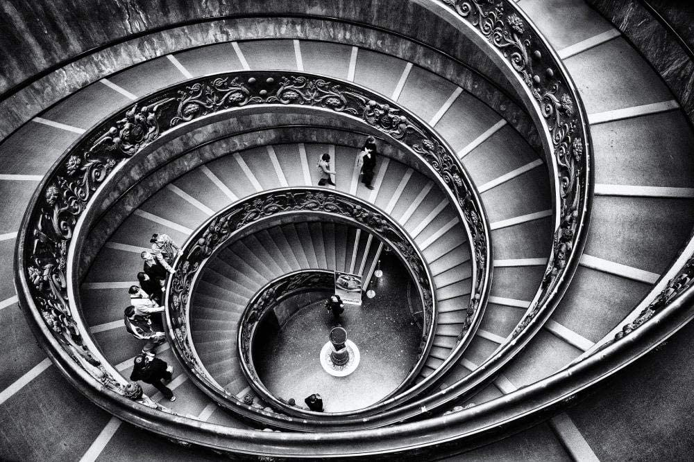 HQHff Vaticano Roma Escaleras de Caracol geométricas en Blanco y Negro,Puzzles Adultos 500 Piezas 52x38cm,3D Puzzles de Madera Adultos Regalo de Juguete Educativo para niños: Amazon.es: Hogar