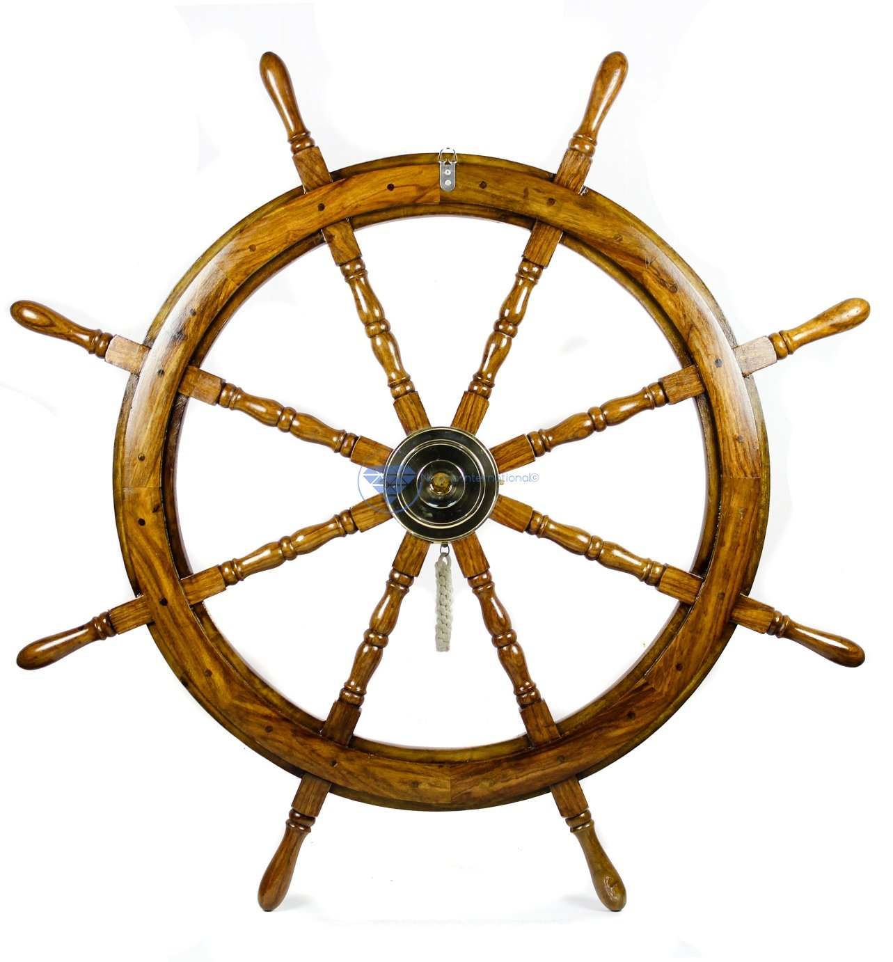 Wooden Handcrafted Premium Wood Nautical Ship Wheel With Brass Wheel-Bell | Pirate's Beach Home Decor Gift | Nagina International (36 Inches)
