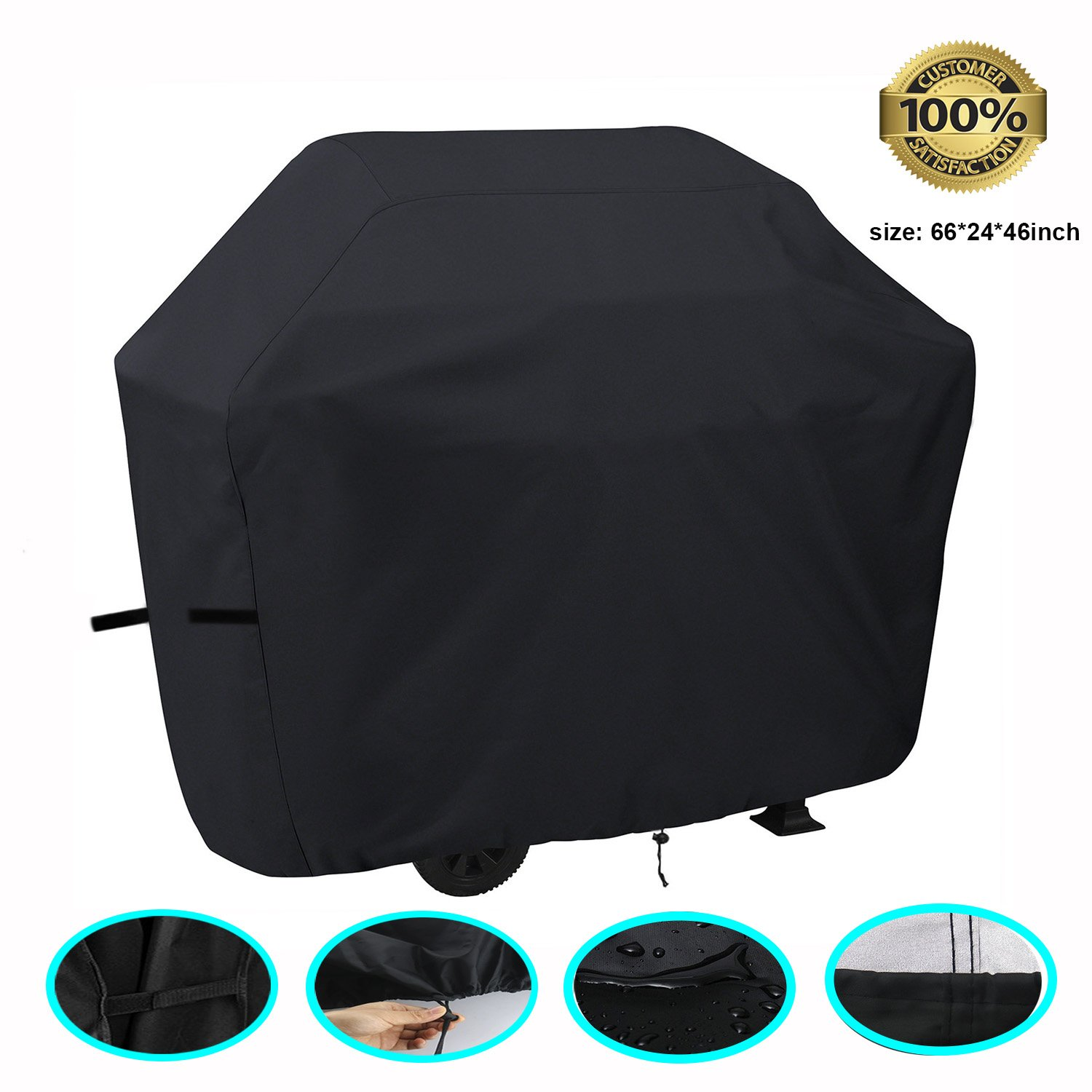 Barbecue Grill Patio Storage Cover FUCNEN Heavy Duty Black Backyard Basics BBQ Cover Water Wind Dustproof Resistant UV Protection Burner Gas BBQ Grill Cover for John Lewis, Swiss Grill, Outback Gourmet, Asda, Beefeater, Weber Gas BBQ and So On Large Size