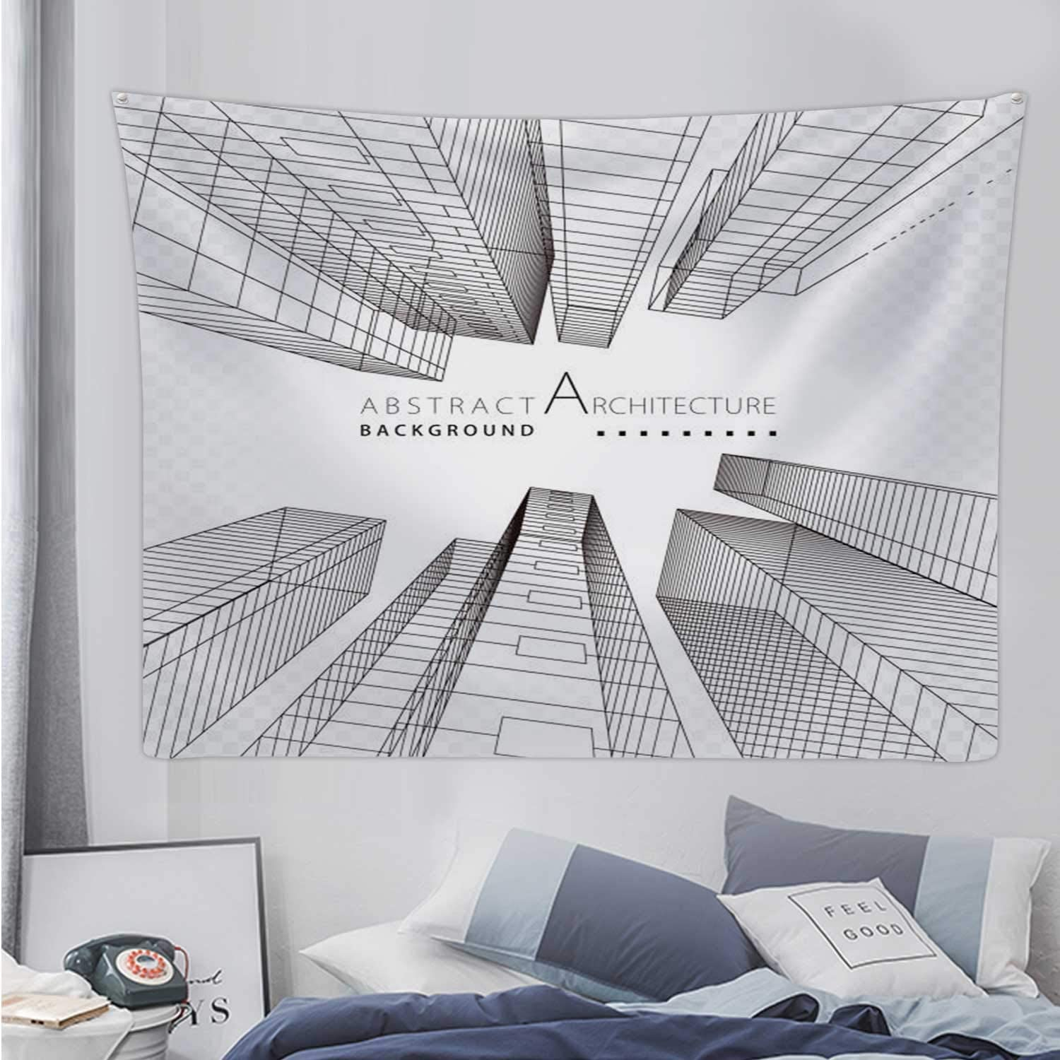 Amazon Com Hitecera Abstract Building Perspective Lines Illustration Usa Tapestry Wall Hanging Abstract Wall Art For Bedroom 90 5x59 1in Home Kitchen