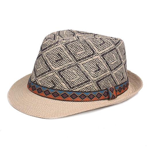 0ca78e374de KINDOYO Man Straw Hat - Men Lightweight Folk-Custom Short Brim Beach ...