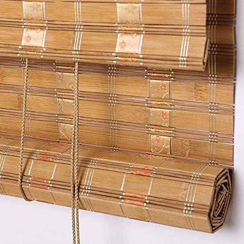 PASSENGER PIGEON Bamboo Window Blinds, Gently Filters Light into Room Roll Up Blinds Shades with Valance, 45 W x 72 L, Camel