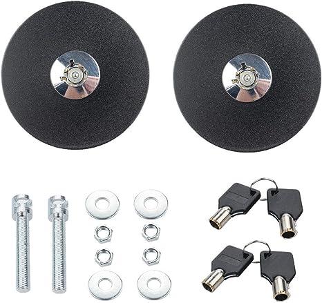 Black JDM Aluminum Mount Bonnet Flip Over Hood Latch Pin Locking Kit