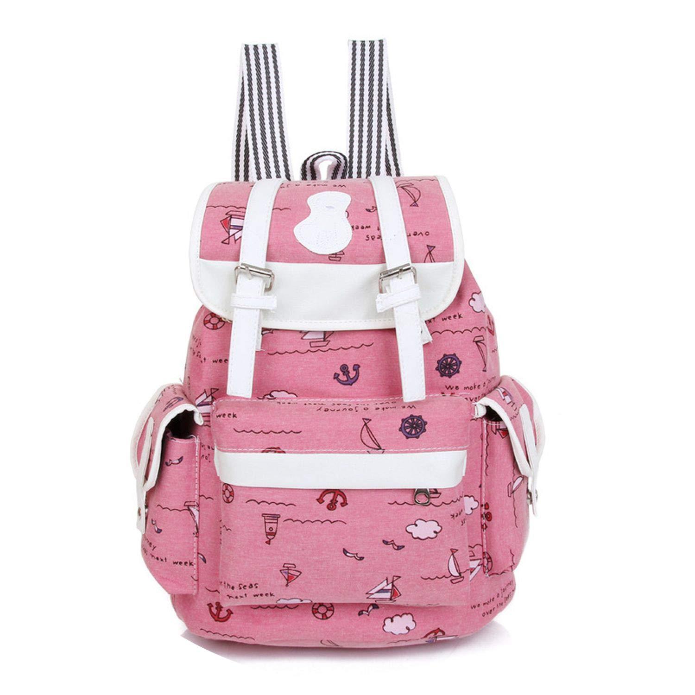 Fresh Backpack Drawstring Printing Canvas Backpacks Shcool Bag For Femme Rucksack