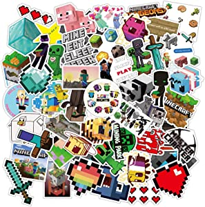 Pixelated Miner Sticker, Video Game Themed Retro Pixel 50 Piece Sticker Decal Set for Kids Adults - Laptop Water Bottles Motorcycle Skateboard Decals