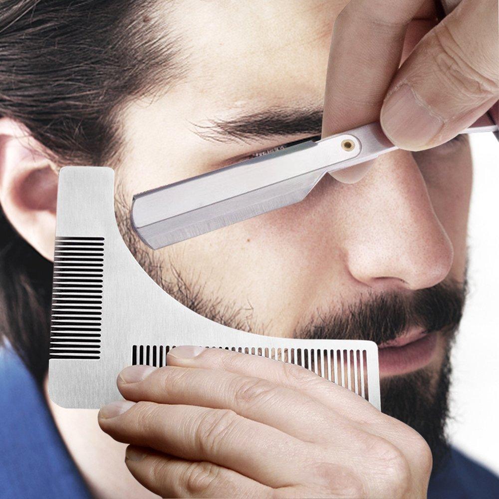 beard shaping tool 3 in 1 stainless steel beard grooming kit