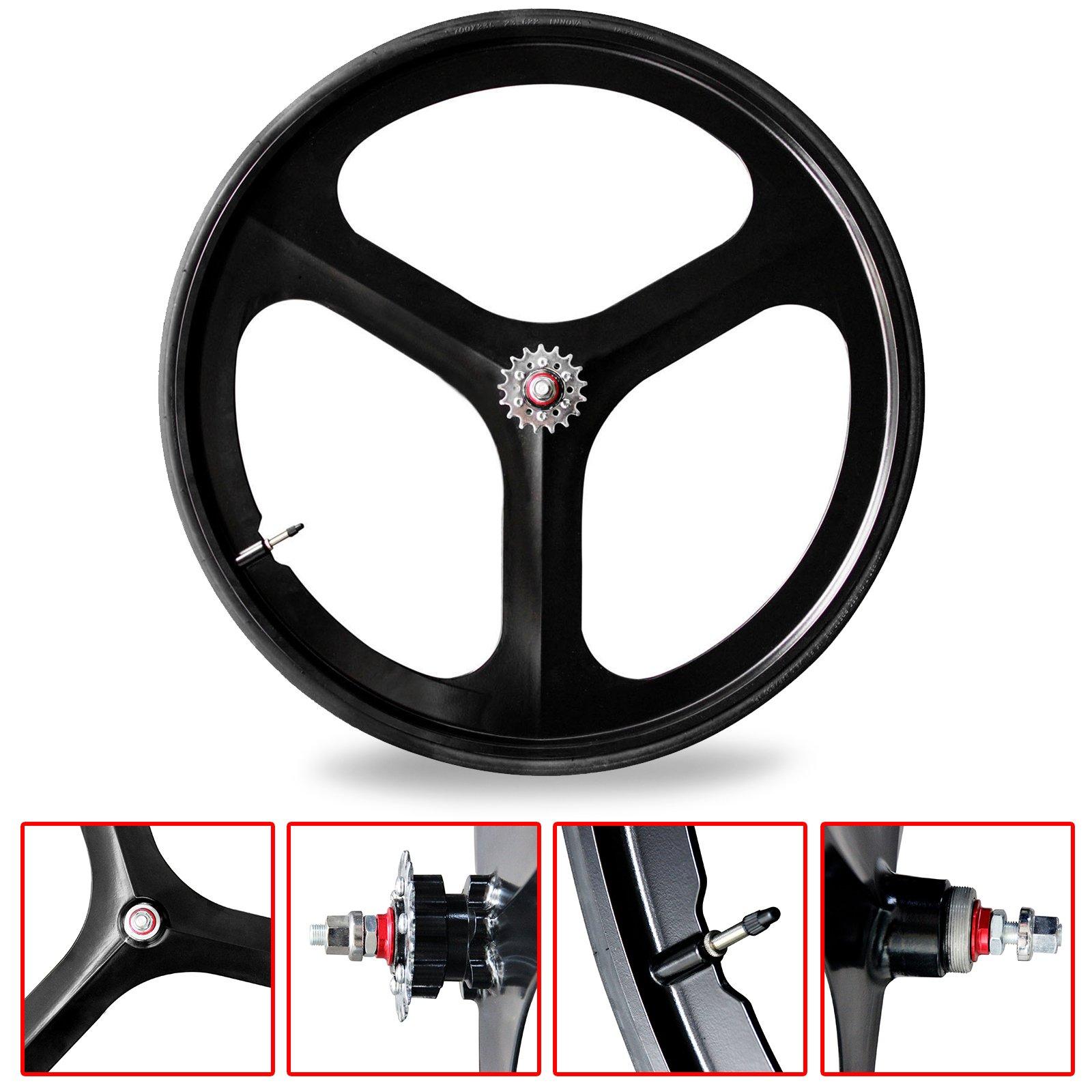 SOLOMONE CAVALLI Black SC Fixed Gear 700c Tri Spoke Rim Rear Single Speed Fixie Bicycle Wheel by SOLOMONE CAVALLI