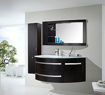 Badmöbel 120 Cm Badezimmermöbel Badezimmer Waschtisch Schrank Spiegel Set  Black Ambassador