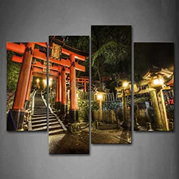 Amazon Com First Wall Art Red Wooden Pillars Narrow Stairs Old