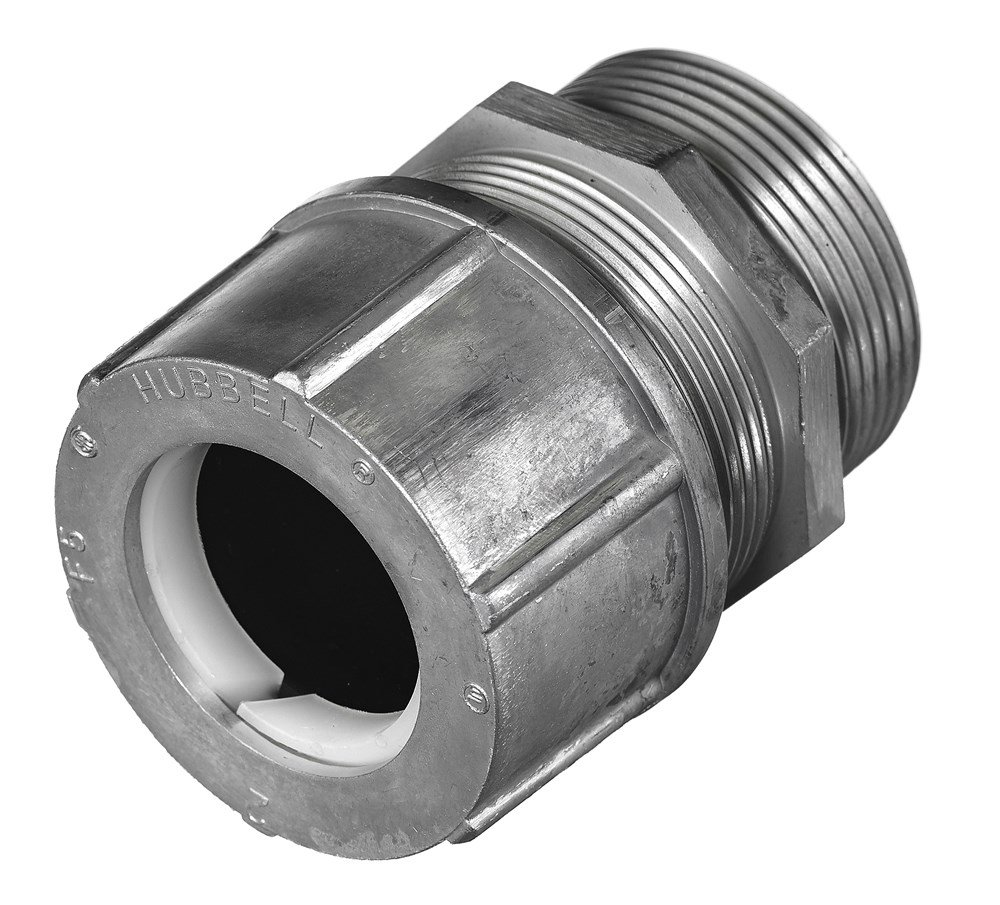 Hubbell SHC1064 Kellems Wire Management Cord Connectors, Straight Male, Aluminum, 1-1/2'' Hub, 1.75-1.88'' Diameter
