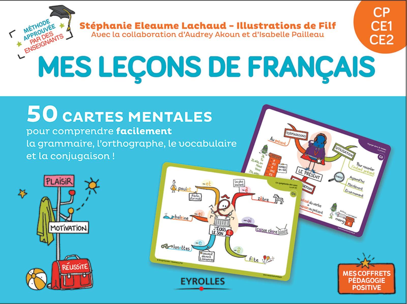 Mes leçons de français CP CE1 CE2 : 50 cartes mentales (grammaire, orthographe, conjugaison, vocabulaire)