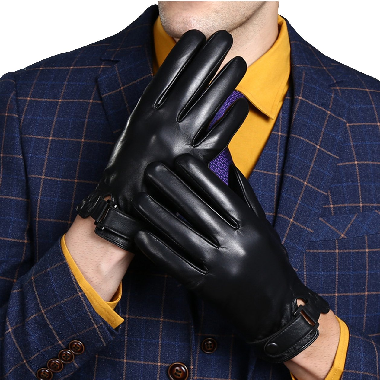 gloves leather Cashmere Lining touch screen business gloves[2XL, black]